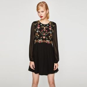 Zara Embroidered Dot Mesh Dress XS or S black
